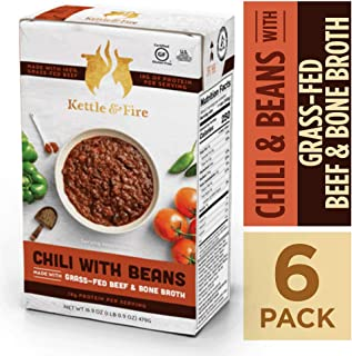 Chili with Beans and Grass Fed Beef and Bone Broth by Kettle and Fire, Pack of 6, Gluten Free Collagen Soup on the Go, Non GMO, 18g of protein, 16.9 fl oz