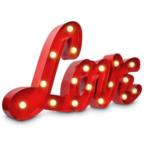 Navaris tableau design décoration LOVE - Avec lettres lumineuses LED - Mot décoratif inscription maison pour cuisine salon - Eclairage blanc chaud