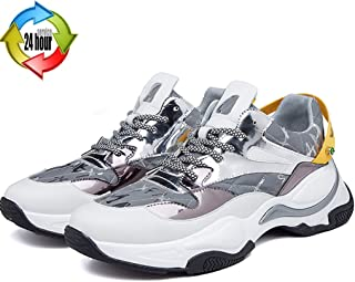 Loafer Flats Trail Running Shoes Fashion Letters Men's Casual Shoes Stitching Silver Trekking Flat Shoes Hunting And Climbing Breathable Sneakers (Color : Silver, Size : 7)