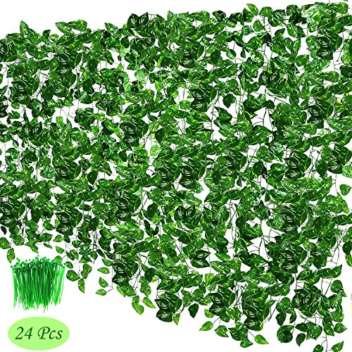 OrgMemory Scindapsus, (24Pack, 85' Each, 100Pcs Cable Tie), Greenery Garlands Hanging for Wedding Party Garden Decor (Scindapsus)