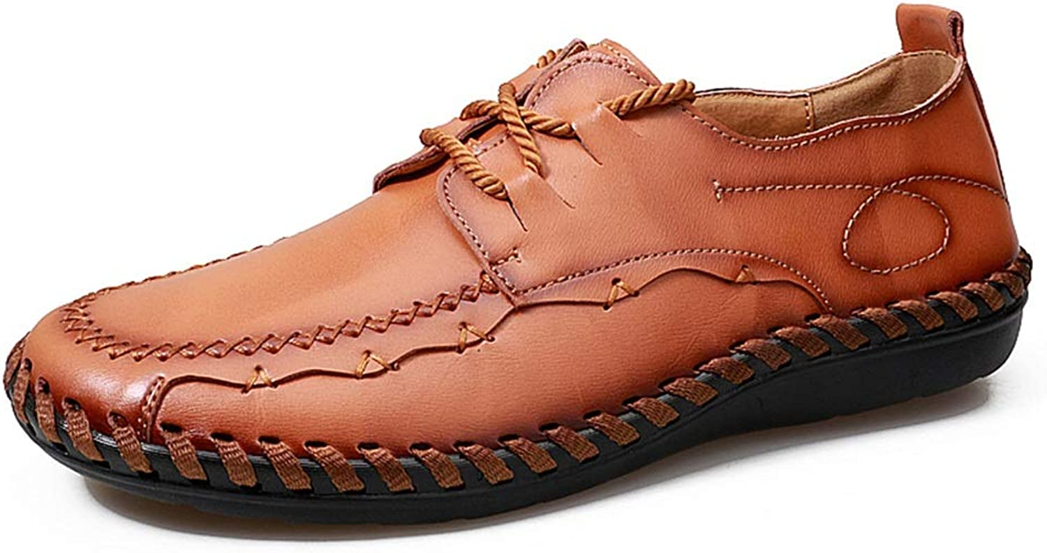 Men's shoes Handmade Sewing Lined Loafer Genuine Leather Lace up Antislip Bendable Moccasins Boat shoes Cricket shoes