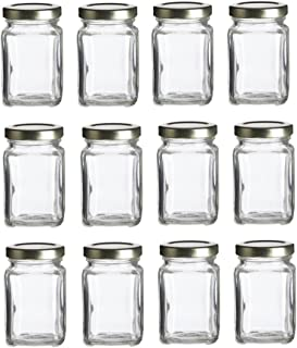 Nakpunar Victorian Square Glass Jars with Plastisol Lined Lids (3.75 fl oz, Gold)
