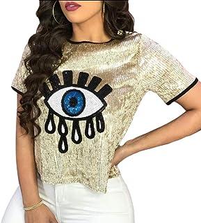 fbf3d93f Keaac Women Hip Hop Sequins Evil Eye Short Sleeve Summer Eyes Crop Top T- Shirt