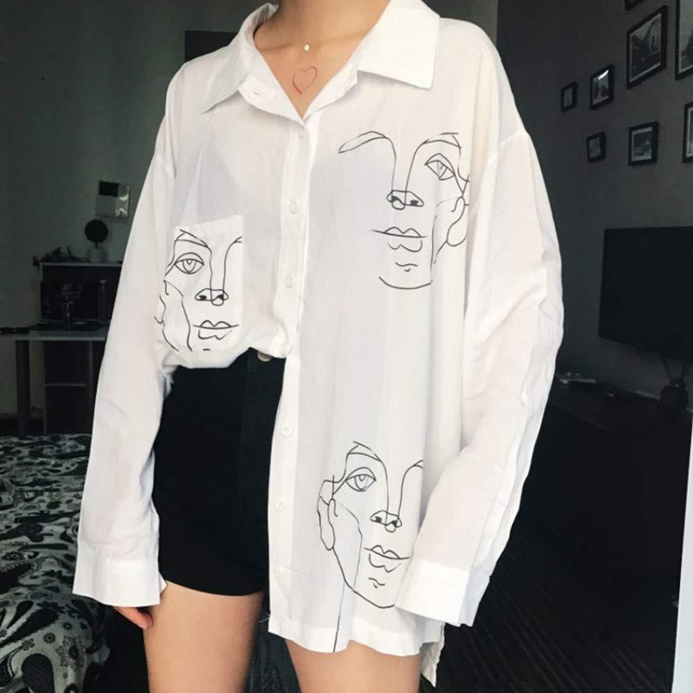 NSSYL Tops de Mujer Blusas Algodón Camisa Blanca Línea Estampado ...