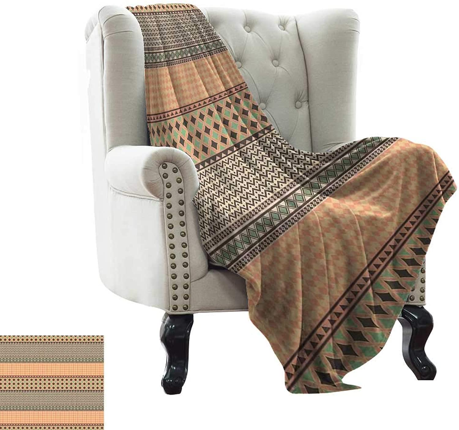 WinfreyDecor Warm Blanket Primitive African Ornament with Geometric Borders Native Traditional Tile Sofa Chair 70  Wx93 L