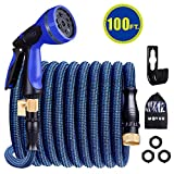 WOVUU Garden Hose Expandable 100FT,Flexible Durable Water Hose with 10 Spray Hose Nozzle/Self-Locking Leakproof Self-installion/Lightweight No-Kink/3750D Fabric/3-Layers Latex/3/4 Solid Brass (100FT)