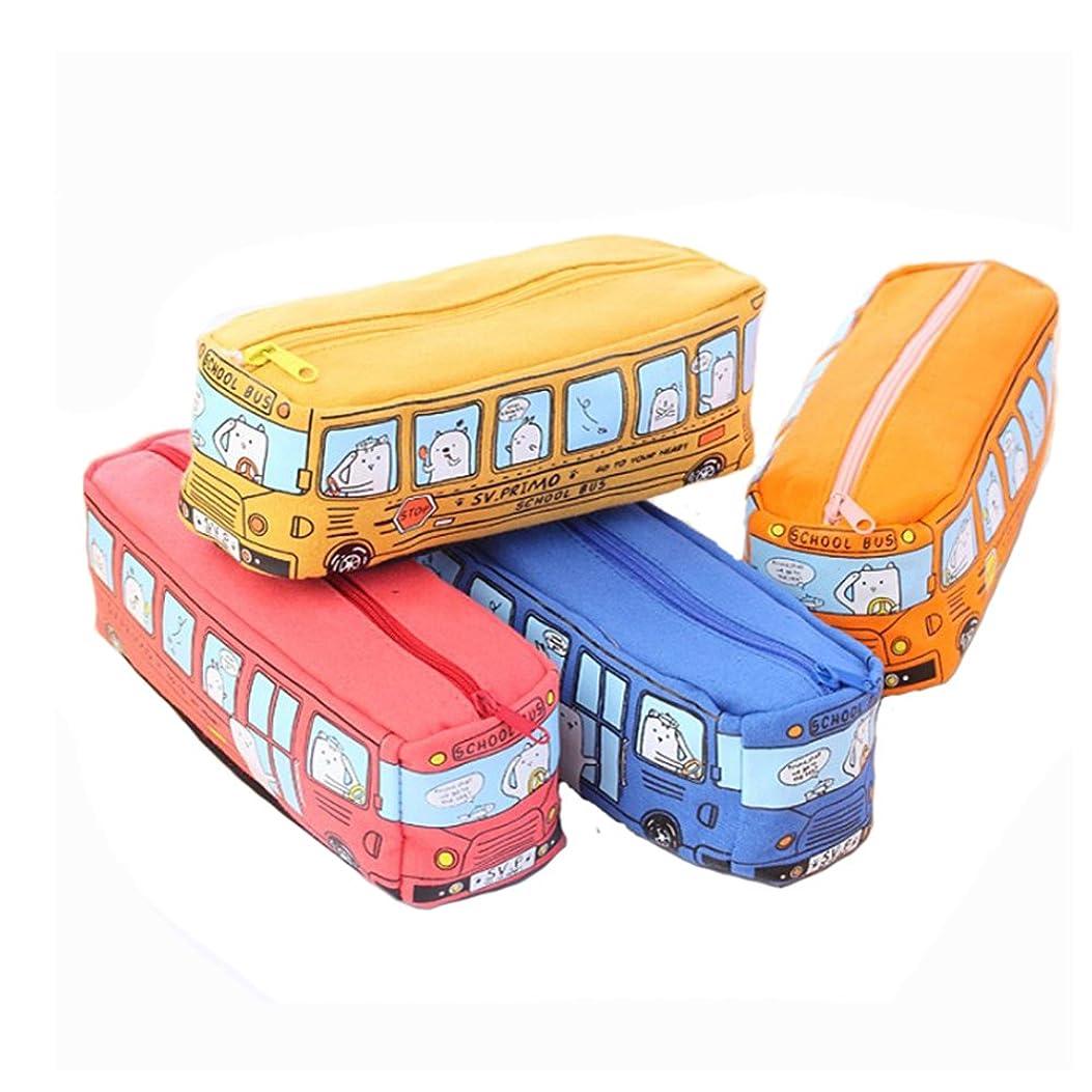 トースト微視的準備するペンシルケース キッズ学生漫画 学校バス キャンバスペンシルケース 持ち運び便利 ランダムに出荷 かわいい文房具ペンバッグH 文房具ポーチバッグケース