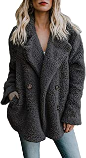 WUAI-Women Oversized Fuzzy Fleece Open Front Hooded Sweater Cardigans Jacket Coats Fluffy Outerwear with Pocket