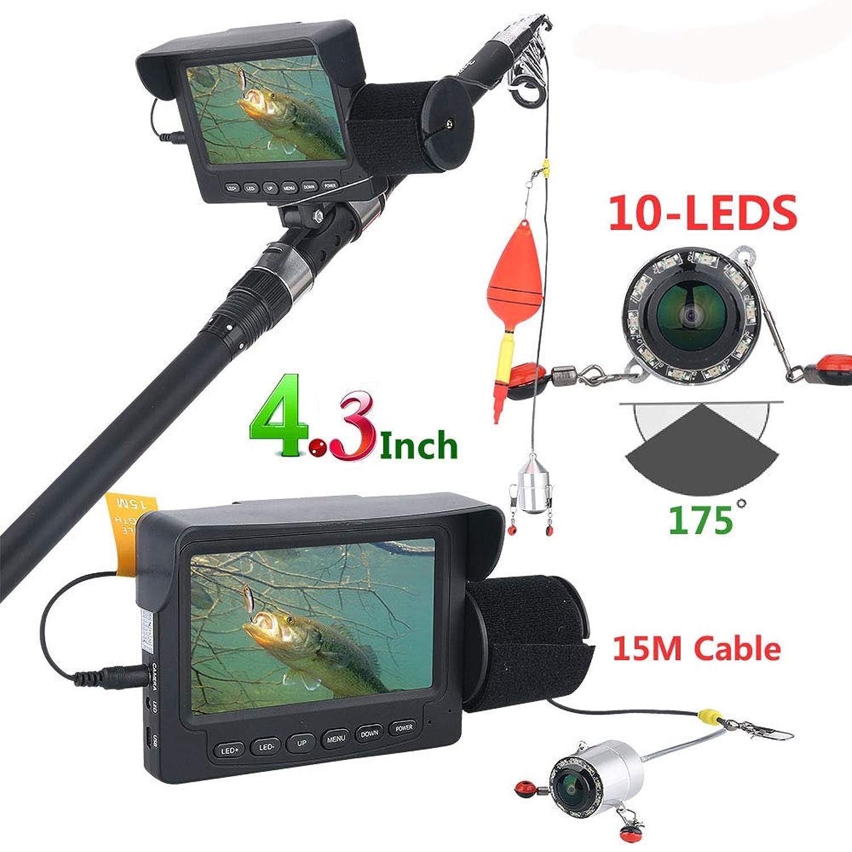 4.3インチ水中魚群探知機HD水中カメラ1000TVLカメラナイトビジョン175度カメラ(15M、30M),15M