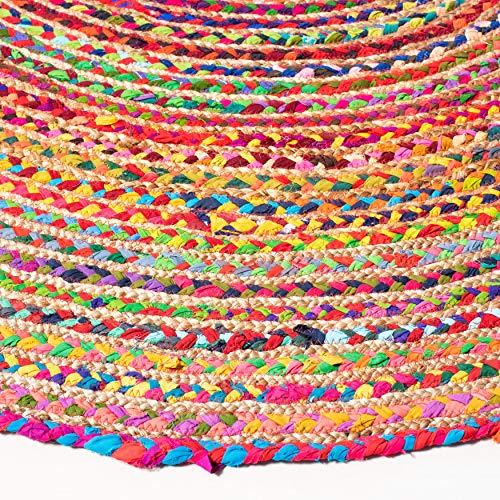 Safavieh Cape Cod Collection CAP202A Teppich, handgewebt, Jute und Baumwolle, 122 cm, quadratisch, Rot / Mehrfarbig - 3
