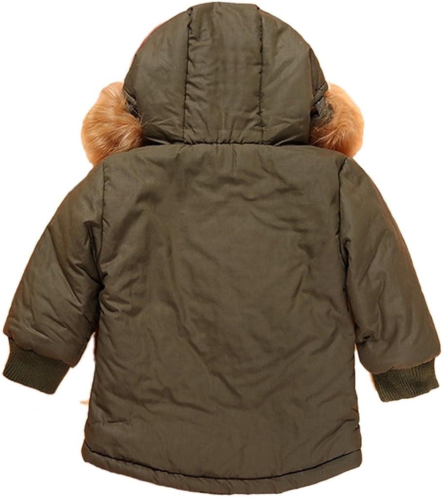YUFAN Toddler Little Boys Winter Fleece Lined Parka Jacket Green Hooded Outerwear Coat