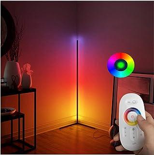 QJUZO 20W LED Lampadaire sur Pied Salon RGB Design, avec Telecommande, Métal Lampadaire Dimmable Noir, Lampe Debout Simpli...