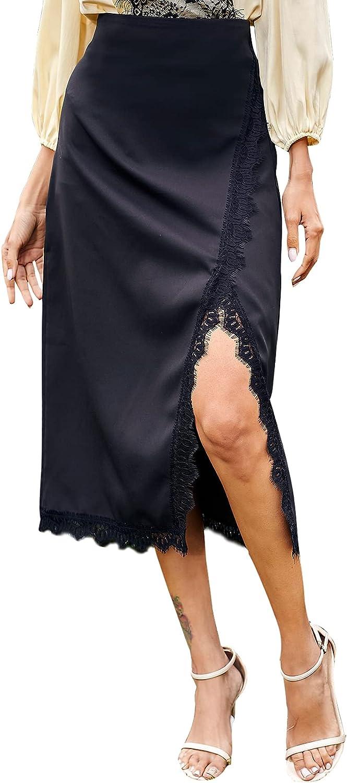 LYANER Women's Elegant Satin Silky Wrap Front Lace Trim Side Split Slit Midi Skirt