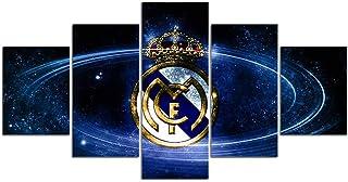 Cuadro decoración arte pared salon abstractos hogar Moderno - Impresión da lienzo 5 Piezas XXL - Real Madrid Club de Fútbol - Mural no Tejido Impresión Artística Imagen Gráfica B-D-1603,5,200x100cmXXL