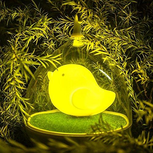 Enfants Birdcage Veilleuse LED main Design Cage à oiseau Lampe Touch Capteur de vibration Night Lights Lampe d'extérieur – Chargeur – pour les enfants, bébé, Valentines cadeau, cadeau de Noël, Halloween cadeau (Jaune)