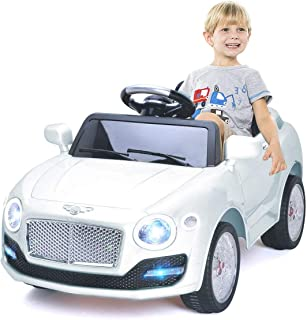 Costzon Ride On Car, 6V Battery Powered Vehicle, Manual/ 2.4G Parental Remote Control Modes Car w/ Flashing Wheel Lights, Swing Function, 3 Speeds, Bluetooth, MP3, Music, Radio, Horn for Kids (White)