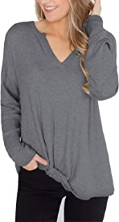 MayBuy Women's Lightweight V Neck Sweater Top Casual Loose Waffle Knit Pullover Blouse