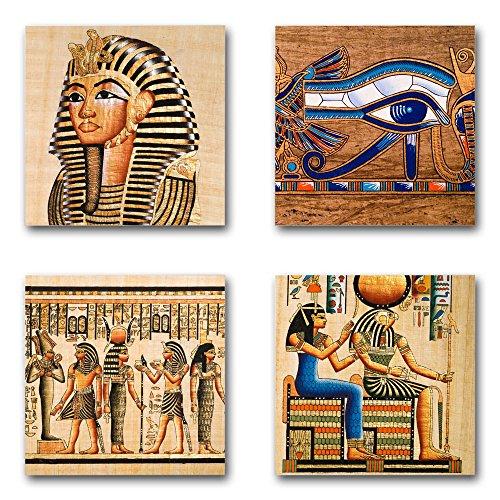 Ägypten - Set B schwebend, 4-teiliges Bilder-Set je Teil 29x29cm, Seidenmatte Moderne Optik auf Forex, UV-stabil, wasserfest, Kunstdruck für Büro, Wohnzimmer, XXL Deko Bild