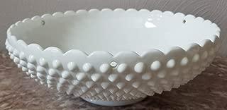 Fenton Art Milk Glass Hobnail Hanging Planter - Vintage Original
