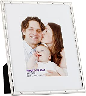 RPJC 8x10 Picture Frame Made of Metal (Steel) and High Definition Glass Display Pictures 5x7 with Mat or 8x10 Without Mat for Wall Mounting Photo Frame Silvery