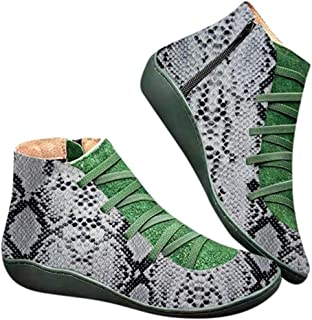 ◕。New Arch Support Boots Low Soft Sole Boots Leopard/Snakeskin Boots Vintage Lace Up Zip Short Boot S Ankle Boot