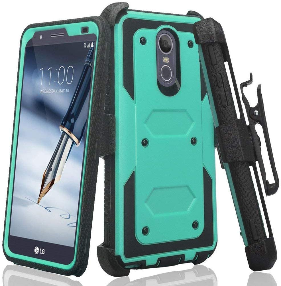 Galaxy Wireless Case for LG Aristo 4 Plus +/K30 2019/Journey LTE/Escape Plus/Arena 2/Tribute Royal/Prime 2 Case, Built-in [Screen Protector] Heavy Duty Holster Cover [Belt Clip][Kickstand] - Teal