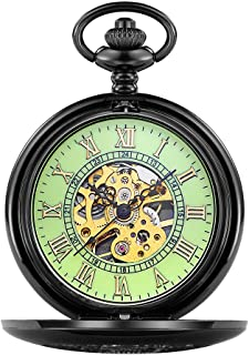 ETbotu Hand-Winding Mechanical Hollowed Watch Stainless Steel Men Fashion Casual Pocket Watch Hollow-Out Dial Fob Chain Watches - Light Green