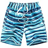 Coralup Short de bain et plage pour enfant Taille réglable Séchage rapide Respirant - Board short, de 3 à 14 ans - Bleu - 9-10 ans