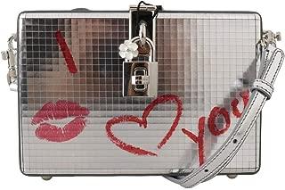 Silver I Love You Kiss Leather Clutch Purse