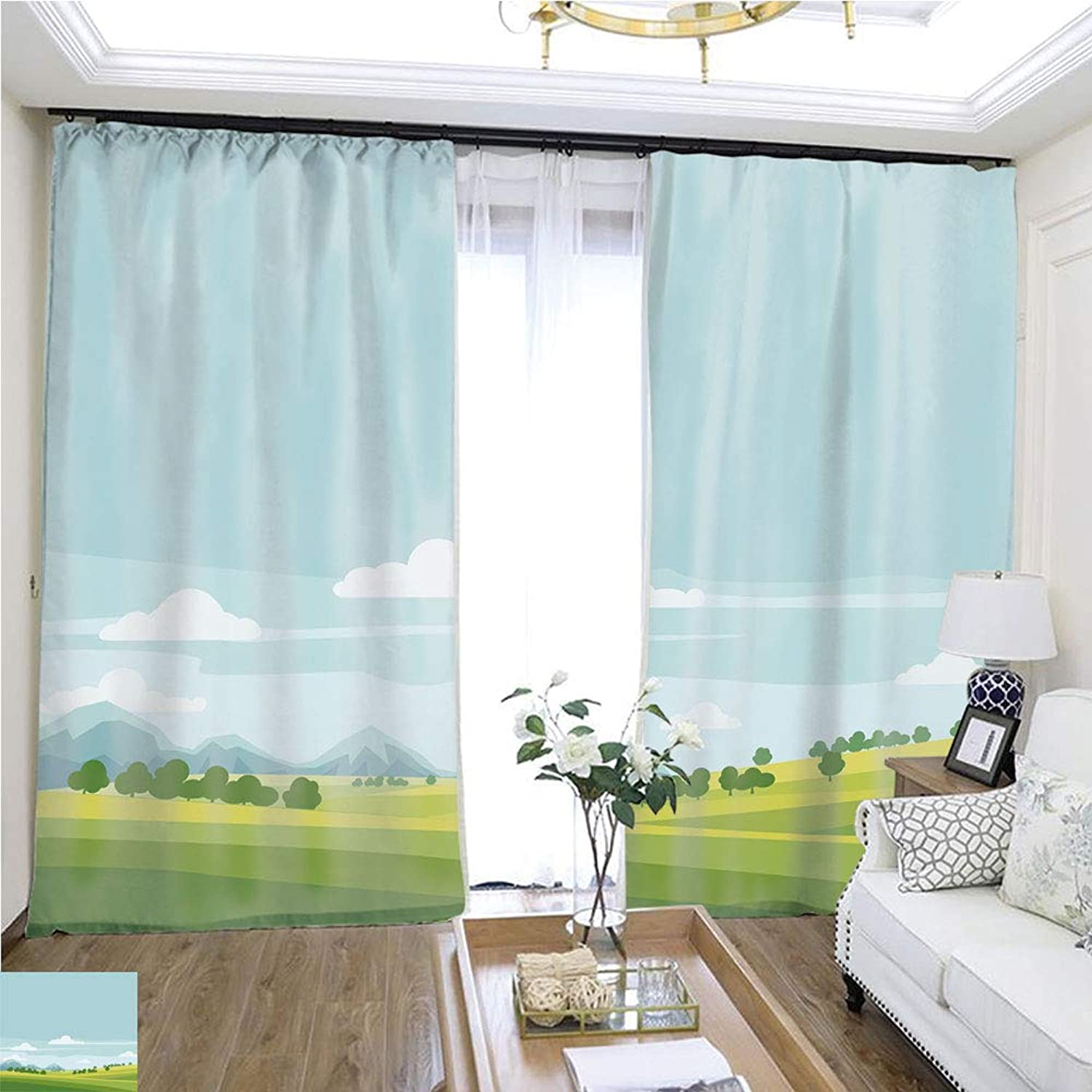 Air Port Screen Cute Rural Landscape Tree Field Mountains Cartoon Style Vector Illustration Isolated W96 x L216 Provide Heat Highprecision Curtains for bedrooms Living Rooms Kitchens etc.