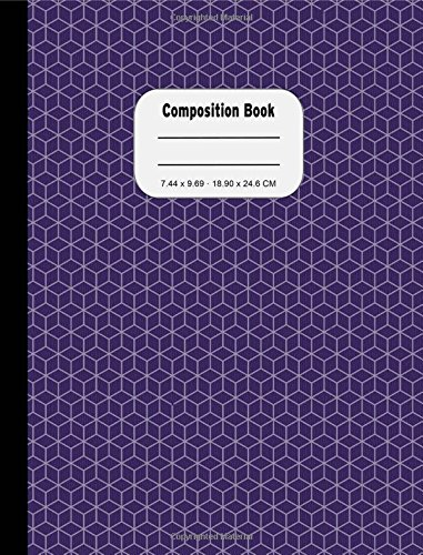 Purple Geometric Boxes Narrow Ruled Composition Book: 200 Pages, Narrow Ruled Paper, No Margins, 1/4