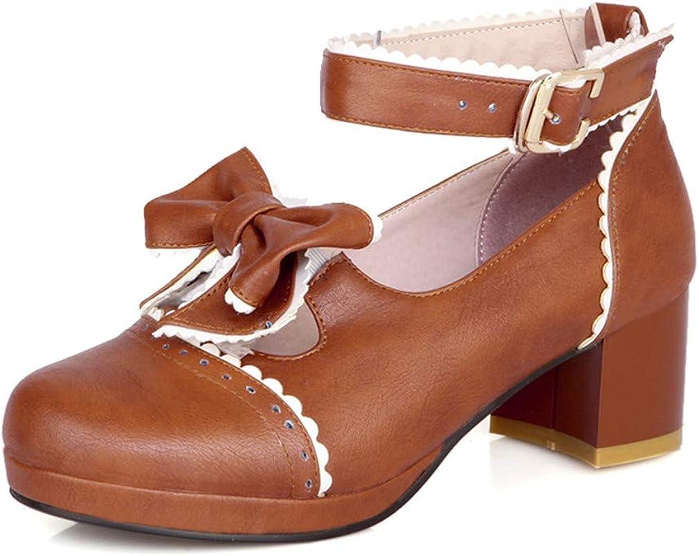 HILIB Woman's Low Heel Vintage Lolita Shoes Cute Bowknot Mary Ja