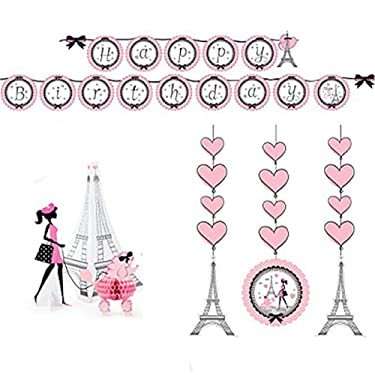 Party in Paris Party Decorations Supply Pack - Hanging Cutouts, Banner, and Centerpiece