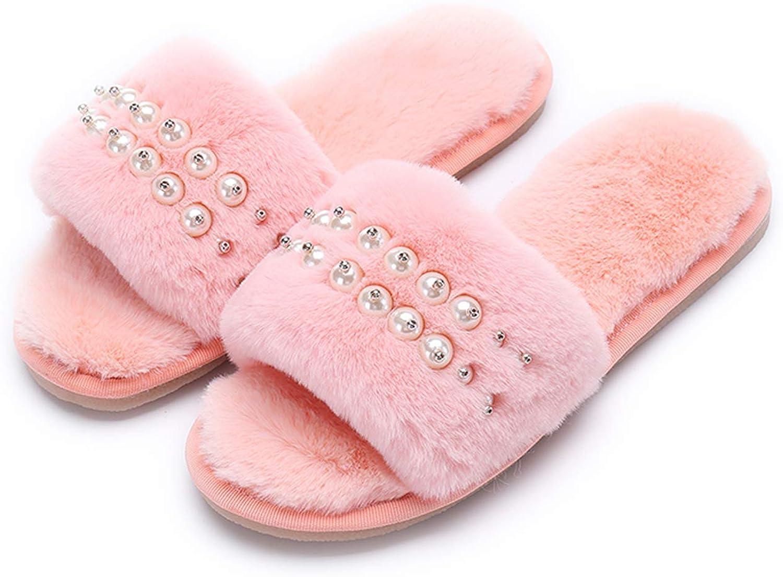 Crazy Lady Women's Fur Fluffy Plush Slipper Flip Flop Open Toe Cozy House Memory Foam Sandal Soft Winter Flat Anti-Slip Spa Indoor Outdoor Slip on Slide