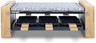 H.Koenig Appareil à raclette Multifonction 6 personnes WOD6, Professionnel, 900W, Raclette fromage, Fondue, Pierre Granit ...