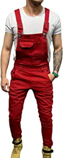 X-xyA New Men's Fashion Denim Bib Overalls Dungarees Jeans Jumpsuits with Multifunctional Pocket,Red,XXL