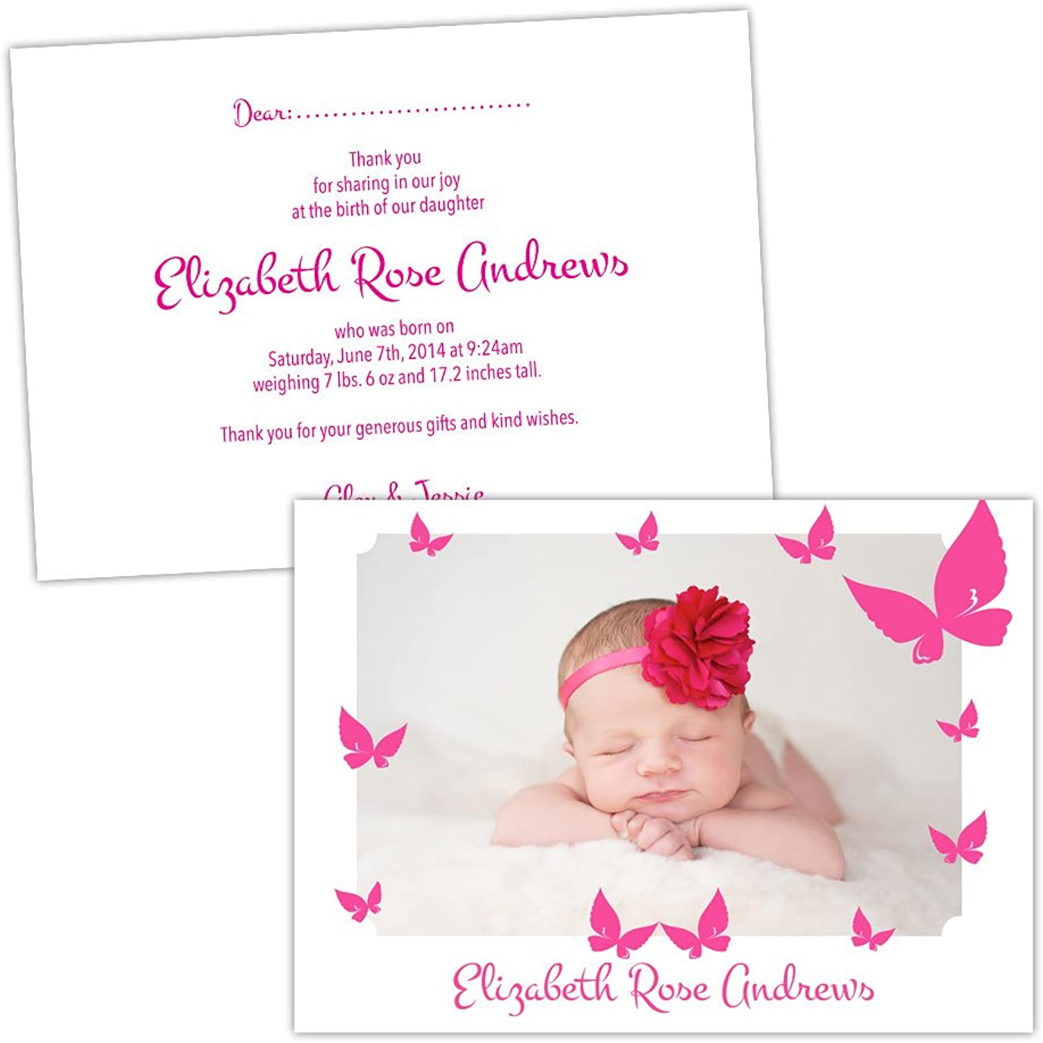 Made by Mika Personalised baby announcements HOT PINK BUTTERFLIES GIRL FREE DRAFT & FREE ENVELOPES (200, A6 folded Silk card)