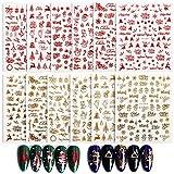 FLOFIA 12 Fogli Adesivi Unghie Natale Natalizi Nail Stickers Natale Autodesivi per Unghie Natalizie...