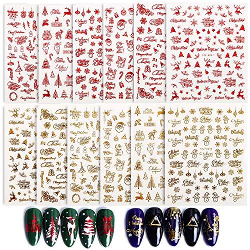 FLOFIA 850+ pcs Pegatinas Uñas Navidad Navideñas Decorativas 3D Nail Stickers Navidad Autoadhesivas Calcomanías...