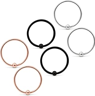 Yaalozei 6PCS 22G Stainless Steel Attached Captive Bead Nose Hoop Rings Eyebrow Cartilage Helix Hook Earring Septum Ring Piercing Jewelry for Men Women