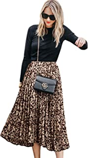 CHOiES record your inspired fashion Women's Leopard Print Long Skirts Elastic High Waisted Plus Size Bohemian Maxi Skirt