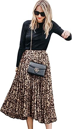 635fb3e3c CHOiES record your inspired fashion Women's Leopard Print Long Skirts  Elastic High Waisted Plus Size Bohemian