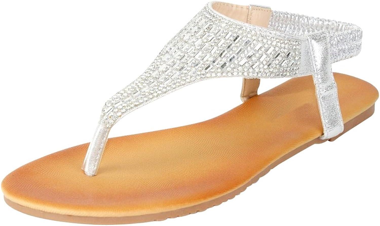 Cambridge Select Women's Slip-On T-Strap Crystal Rhinestone Thong Flat Sandal
