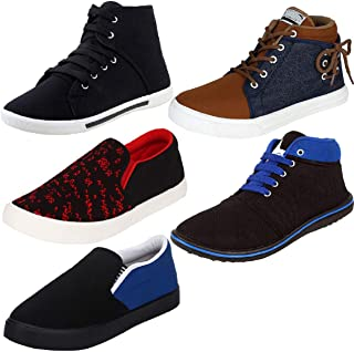 WORLD WEAR FOOTWEAR Men's Multi-Coloured Canvas Casual Shoes/Loafers/Moccasins - Pack of 5 (Combo-(5)-303-678-462-698-768)