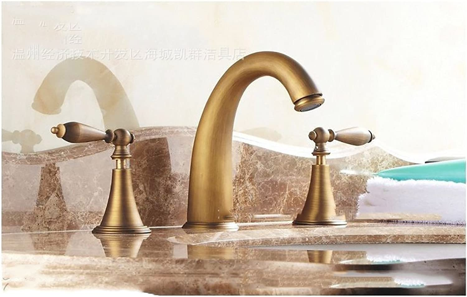 ZQ@QXAll copper split three piece hot and cold basin faucet,To fake something antique