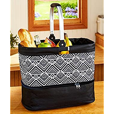 The Lakeside Collection 2-in-1 Tote with Hot/Cold Casserole Carrier - Mod Zag