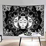 Tapestry Wall Hanging Mystic Black and White Tapestries with Sun & Moon, Burning Sun with Star Psychedelic Astrology Tapestry for Living Room Bedroom Home Decor Medium Extra Large Size
