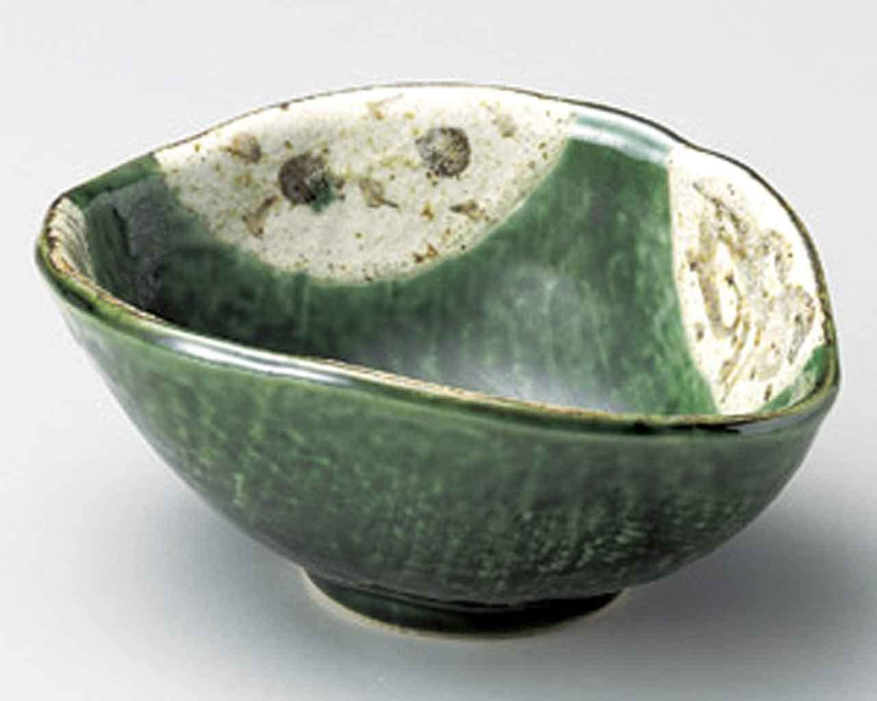 Satoyama Oribe Inexpensive 5.9inch Set of 5 porcelain Made Green Small famous Bowls