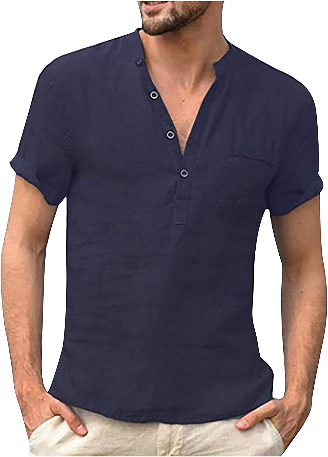 Ganfancp Casual Tee Shirt for Men,Vintage Solid Cotton Linen Short Sleeve Men Top Button Down V-Neck T-Shirt with Pocket