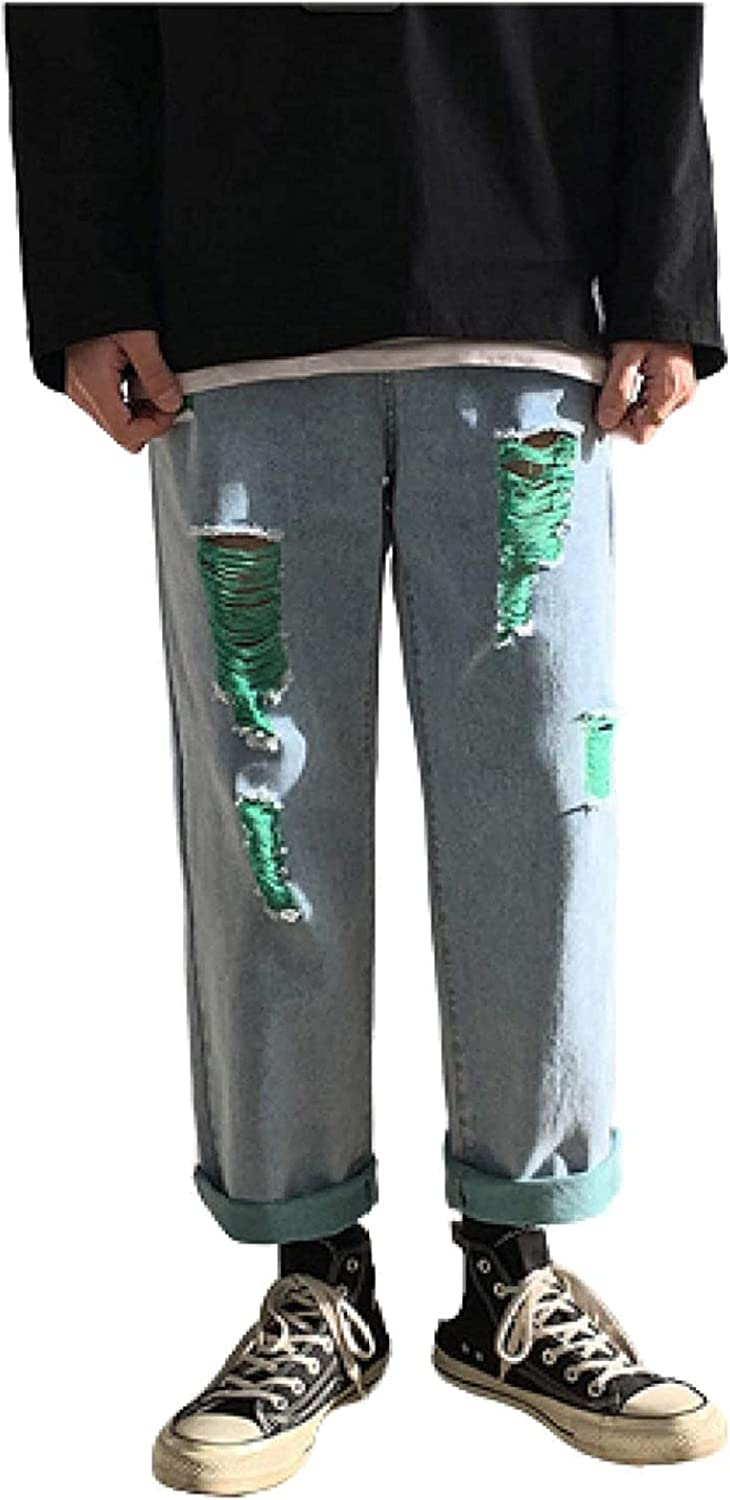Susanlife Men's Max 74% OFF Personality Trend Jeans Year-end annual account Holes Ripped Torn Edges